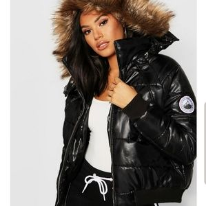 Tall Faux Fur Trim Puffer Jacket form BooHoo